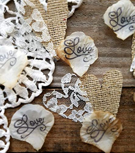 Burlap and Lace Silk Rose Petals Rustic Wedding Decorations Confetti, Rustic Table Runner Or Aisle Runners For Weddings 150 pieces -