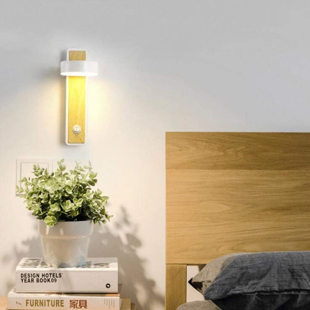 Schwarz Wandleuchte LED Holz Wandlampe Innen Wandbeleuchtung Warmwei/ß Wandlicht 350/°Drehbare Eisen Wandleuchten f/ür Schlafzimmer,Badezimmer,Wohnzimmer