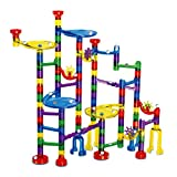 Marble Run - Meland 127 Pcs Marble Race Track Educational Building Blocks Set Construction Stem Learning Toys Marble Maze Game for Kids 4 5 6 7 8 9 + Year Old Boys Girls (122 Marbulous Pieces + 5 Glass Marbles)