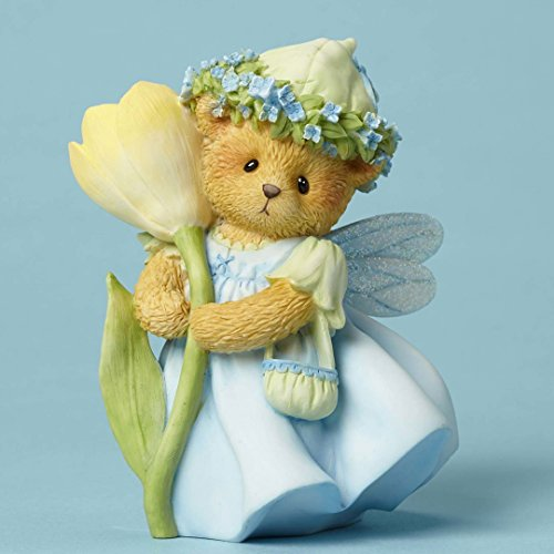 Enesco Cherished Teddies Collection Figurine Bear W/crocus Flower - Enesco Cherished Teddies Bear