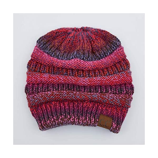 f9ae7e4df C.C Exclusives Soft Stretch Cable Knit Messy Bun Ponytail Beanie Winter Hat  for Women (MB-20A)
