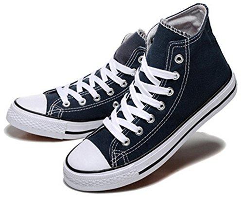 Idifu Womens Ademend Lace Up Hoge Top Canvas Sneakers Plat Walking Skateboard Schoenen Blauw