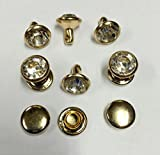 200 Sets 6mm (white crystal+ light gold body) Crystals Rhinestone Rivets Rapid Silver/gold Spots Studs Decorative Rivet for DIY Clothes Making