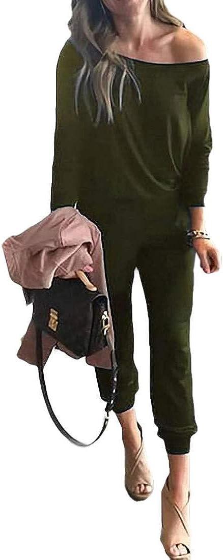 SELX Women Off The Shoulder Solid Color Pockets Long Sleeve Jumpsuit Romper