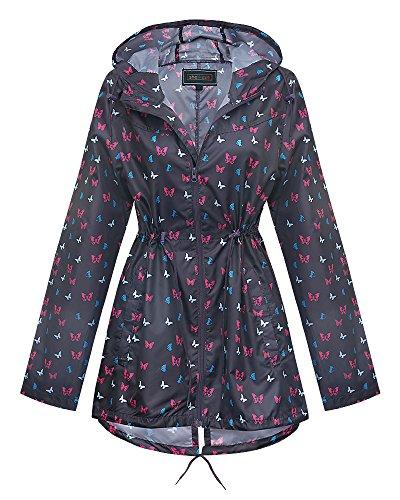 Shelikes New Ladies Hooded Daisy Raincoats Sizes XS-XXL (XXL, Ditsy Butterfly)
