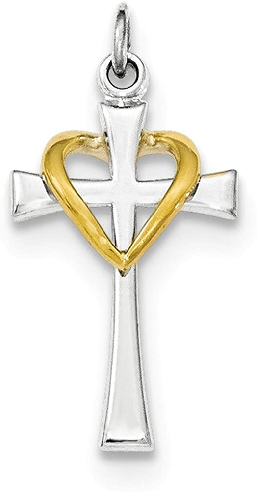 .925 Sterling Silver & Gold-Tone Latin Cross with Heart Charm Pendant