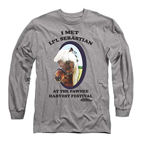 Popfunk Parks & Rec Pawnee's Horse Li'l Sebastian Longsleeve T Shirt & Stickers (Large) Heather Gray