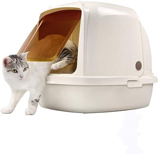 MTCWD Caja De Arena para Gatos/Fácil Limpiar Gato Camada Bandeja/Gato Nido/Dar La Vuelta Gato Camada Caja/Gato Baño Basura (Color : White, Size : L64*47 * 49cm): Amazon.es: Productos para mascotas
