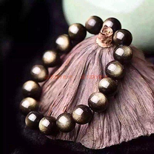 Obsidian Gold (East natural crystal bracelet gold Obsidian Crystal man women girls couple black / gold Obsidian bracelet gift)