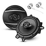 "Pioneer A Series 6.5"" 320 Watts Max 3-Way Car Speakers Pair with Fiber Cone Midrange and 6-1/2"" Multi-Fit Installation Adapters Included w/ FREE ALPHASONIK EARBUDS"