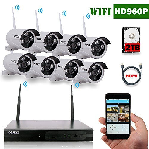 OOSSXX 8-Channel HD 1080P Wireless System/IP Security Camera System 8Pcs 1.3 Megapixel Wireless Indoor/Outdoor IR Bullet IP Cameras,P2P,App, HDMI Cord&2TB HDD Pre-install