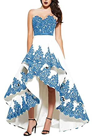 Ruffle High Low Prom Dress Backless Satin Lace Applique Long Evening Party Gown Sky Blue Size 2