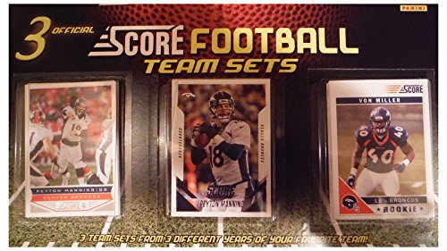 Denver Broncos 3 Team Set Factory Sealed Gift Lot Including 2015, 2013 and 2011 Score Broncos Sets Featuring 2 Different Peyton Manning Cards Plus Rookies and More