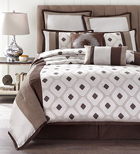 Nanshing GRAYSON8-Q Grayson Collection Reversible Bedroom Comforter Complete 8 Piece Set, Queen, Brown/Taupe (Comforter Set Grayson)