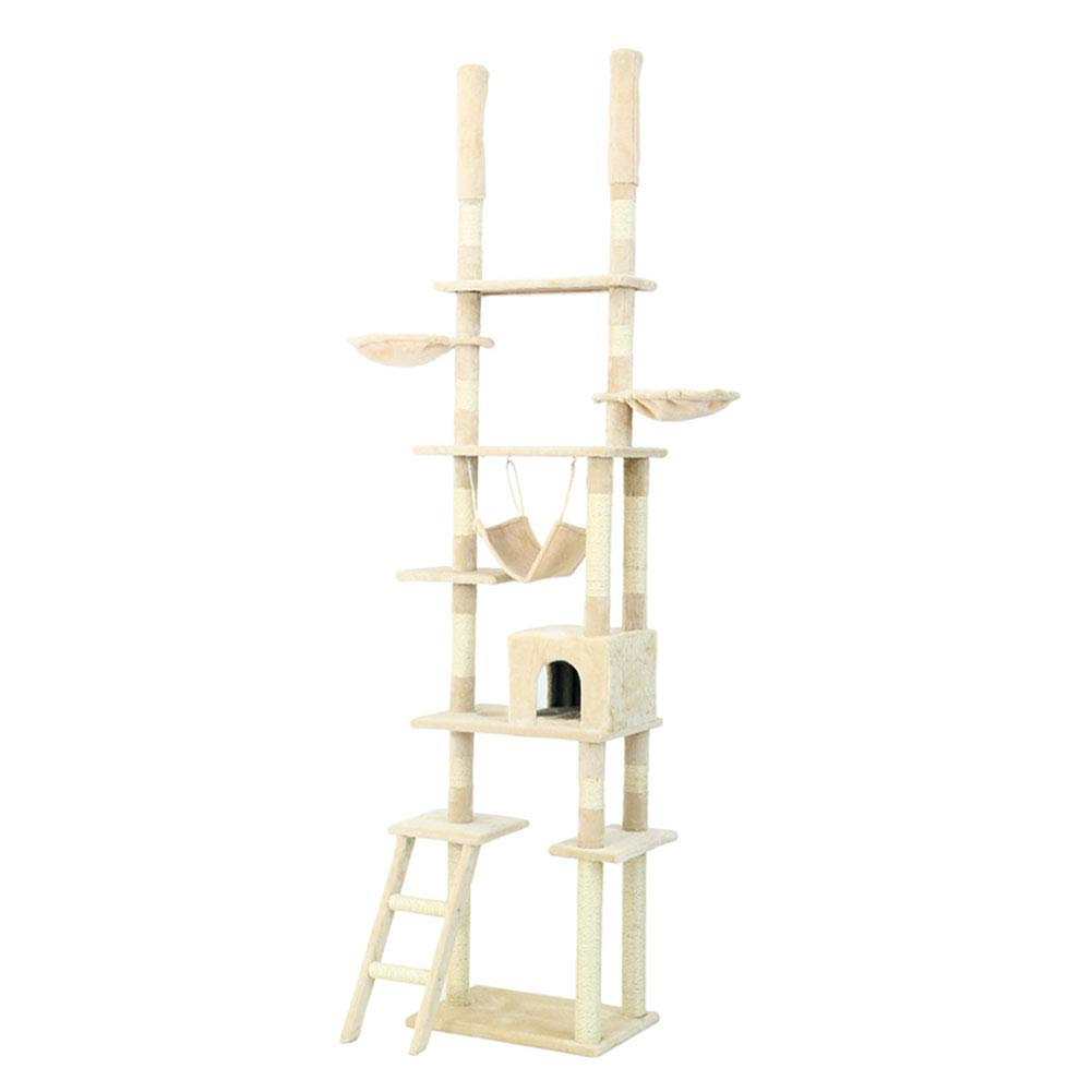 Beige Cat Trees Multi-Tier Floor-to-Ceiling Cat Climbing Tree, Top-Down Tall Luxury Cat Tree with Perches and Fixing Tool Stable Adjustable (color   Beige)