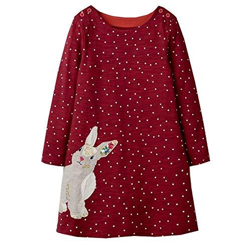 VIKITA Toddler Girl Long Sleeve Santa Reindeer Jersey Dress Baby Girls Winter Birthday (6T, JM7734) -
