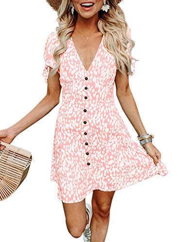 BTFBM Women Summer Printed V Neck Button Down Casual Party Short Dress with Tie Sleeve (Pink, Small)