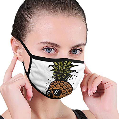 TRAVOTG Pineapple Skull in A Sunglasses Mouth Mask,Unisex Mask Personality Print Anti-Pollen Mask Anti-dust and Anti-infective Polyester Face Mask Face-Fitting for Men and Women
