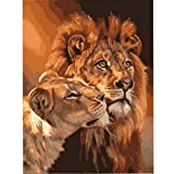 Megayouput DIY Framless Canvas oil painting - Paint By Number kits wall decor (framless, lions)