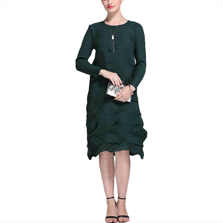Falten lange Ärmel Kleid High-End-Luxus-Blütenblätter Kleid-grün