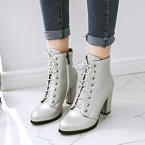 Charm Foot Womens Chic Zipper Lace Up Chunky Tacco Alto E Grosso In Argento