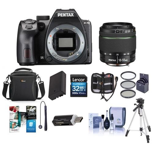 Pentax K-70 24MP Full HD DLR Camera with SMC DA 18-55mm f/3.5-5.6 AL WR Lens Black - Bundle with Holster Case, Spare Battery, Tripod, 62mm Filter Kit, Cleaning Kit, Software Package and More