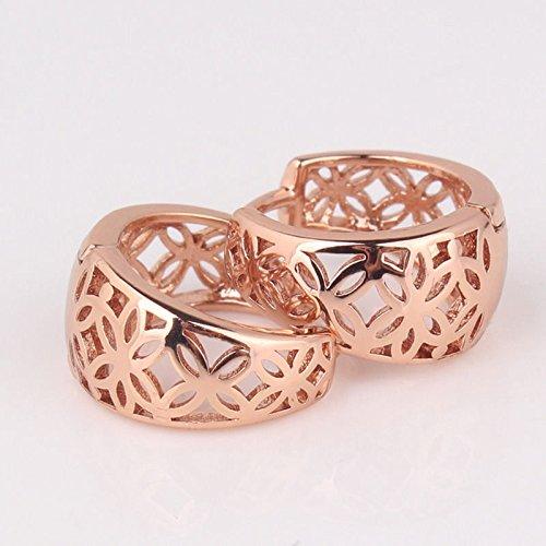 Gram 18k Box (phitak shop Hollow design engagement women's hoop pierced Earrings in 18k Rose Gold Filled)