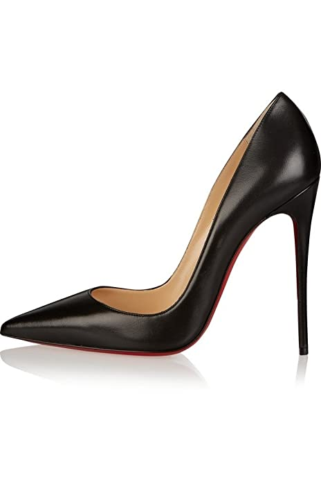 a34719e094e Aibarbie Womens Ladies Leather High Heels Pumps Red Bottom Pointed Toe  Party Pumps Shoes