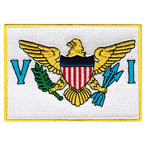 US Virgin Islands Flag Embroidered Patch Iron-On Caribbean National Emblem ()