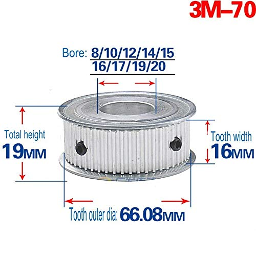 3M 70T Pitch 3mm Tooth Width 16mm Timing Belt Pulley Synchronous Wheel Gear 15mm Bore (3M70T, Bore:15mm)
