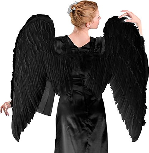 [Adult Large Black Angel Wings Costume Maleficent Wings Maleficent Costume Wings] (Maleficent Halloween Costumes For Girl)
