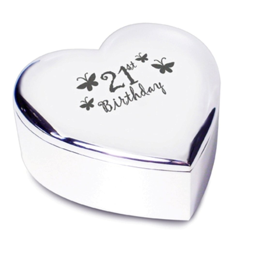 21st Birthday Heart Shaped Trinket Box pmc