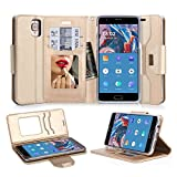 OnePlus 3 Case, FYY Premium PU Leather Wallet Case with Cosmetic Mirror and Bow-knot Strap for OnePlus 3 Gold