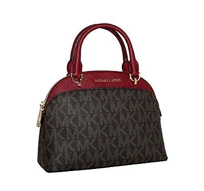 MICHAEL Michael Kors EMMY Women's Shoulder Handbag SMALL DOME SATCHEL (Brown/cherry)