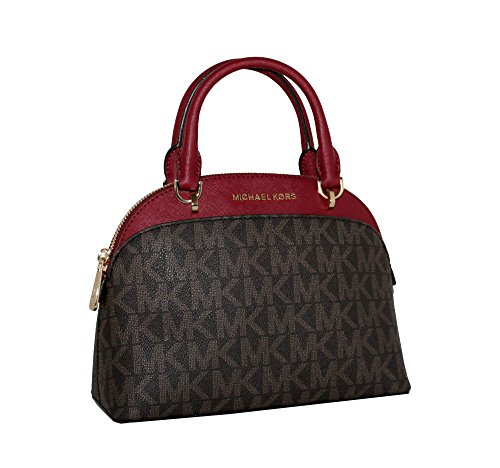 MICHAEL Michael Kors EMMY Women's Shoulder Handbag SMALL DOME SATCHEL (Brown/cherry) by Michael Kors