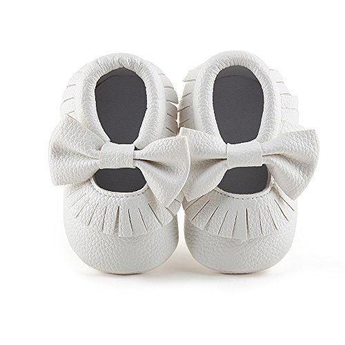 Delebao Infant Toddler Baby Soft Sole Tassel Bowknot Moccasinss Crib Shoes (12-18 Months, White)