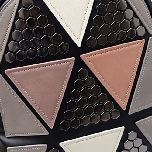 Women Style Pink Rucksack JAGENIE Preppy Geometric School Girls Backpack Bag Patchwork Black Travel UqxEn5TP
