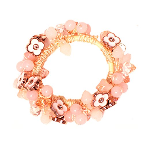 Mia Beaded Ponytailer, 2 in 1 Hair Accessory, Ponytail Wrap + Bracelet, Beautiful Pink Crystals With Rose Gold Pretty White Flowers, Elastic Rubberband, For Women and Girls 1pc