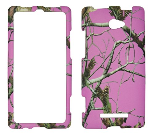 2D Pink Camo Pine HTC Windows Phone 8X / Accord / Zenith 6990 AT&T , T-Mobile , Verizon Hard Case Snap-on Hard Shell Protector Cover Phone Hard Case Case Cover Faceplates (Htc 8x Verizon)