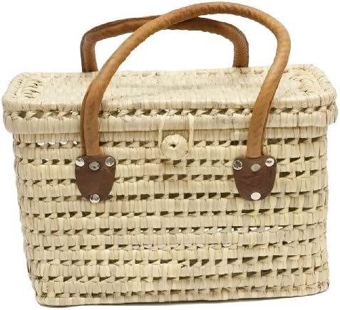 Moroccan Straw Summer Picnic Basket Tote, 14 Lx10 Wx9 H – Sierra