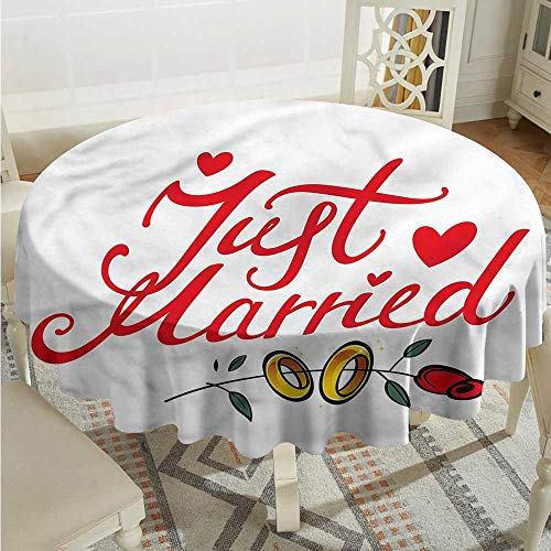 (Tim1Beve Wedding Round Tablecloth Just Married Rose Rings It's Good to be Home Gorgeous High End Quality D54 INCH )