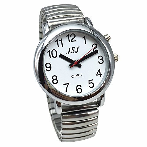 English Talking Watch with Alarm Expanding Bracelet,Talking date and time, Silver Color, White Face - Expanding Bracelet Watch