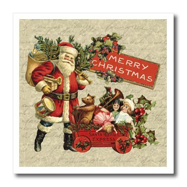 Vintage Iron On Transfers - 3dRose Andrea Haase Christmas Vintage - Nostalgic Santa Claus With Toys Christmas Illustration - 10x10 Iron on Heat Transfer for White Material (ht_268068_3)