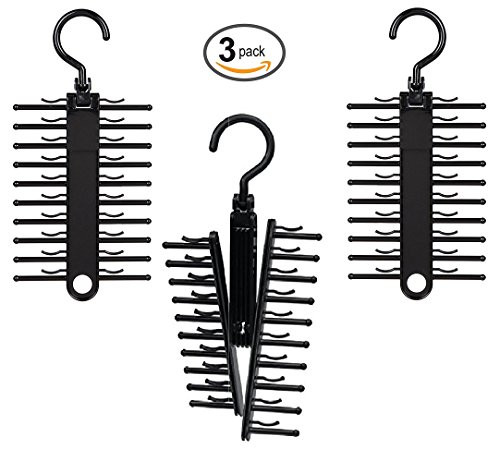 ClosetMate Tie Hanger Tie Rack Pack of 3 - Necktie Cross Hanger, Quality Non-Slip holds 20 Ties, Adjustable Criss-Cross Design - Black Tie Belt Rack Organizer Hanger Non-Slip With 360 Degree Rotation by StorageAid