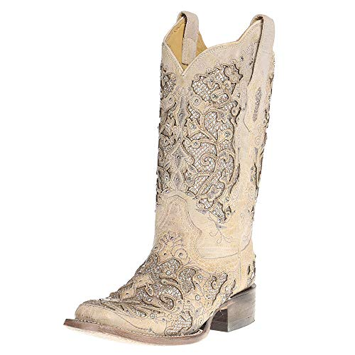 Corral Boot Company Womens Ladies Glitter/Crystals Square Toe Cowgirl Boots 9 B(M) US White ()