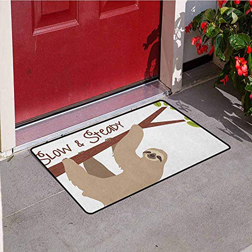 GloriaJohnson Sloth Inlet Outdoor Door mat Cartoon Style Australian Wildlife Mammal on Tree Branch Slow and Steady Phrase Catch dust Snow and mud W19.7 x L31.5 Inch Tan Chesnut Brown