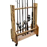 Rush Creek Creations Rustic Double Sided Rolling 16 Fishing Rod Storage Rack