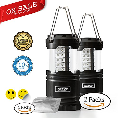 Sparlight Portable Outdoor LED Camping Lantern (3 AA Batteries)- Emergency Power Outages, Storms, Highway Crisis, Multipurpose, Lightweight and Collapsible (w/ 30 pieces of mosquito repellent (Iii Outdoor Gas Lantern)