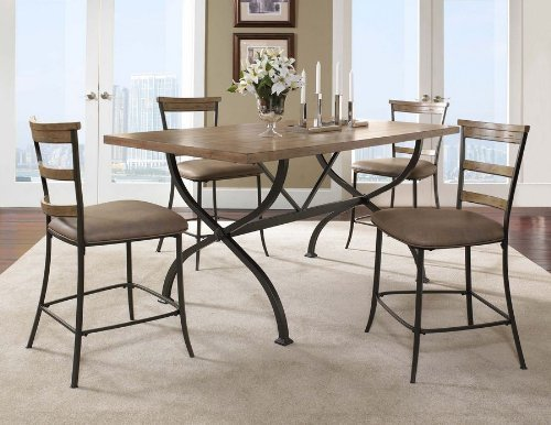 Hillsdale Furniture 4670CTBRS5 Charleston 5-Piece Counter Height Rectangle Wood Dining Set w/Ladder Back Stool Desert