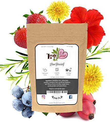 All Natural Detox Tea with Biodegradable Tea Bags -Laxative Free - Improve Toxic Gut- Support Liver - Dandelion, Yellow Dock, Rosemary, Myrtle Leaf, Triple Berry Blend - 16 Tea Bags